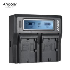 Andoer LP-E6 LP-E6N Dual Channel Kamera Pengisi Daya Digital dengan Layar LCD untuk Canon EOS 5DII 5 DIII 5DS 5DSR 6D 7DII 60D 80D 70D Outdoorfree-Intl