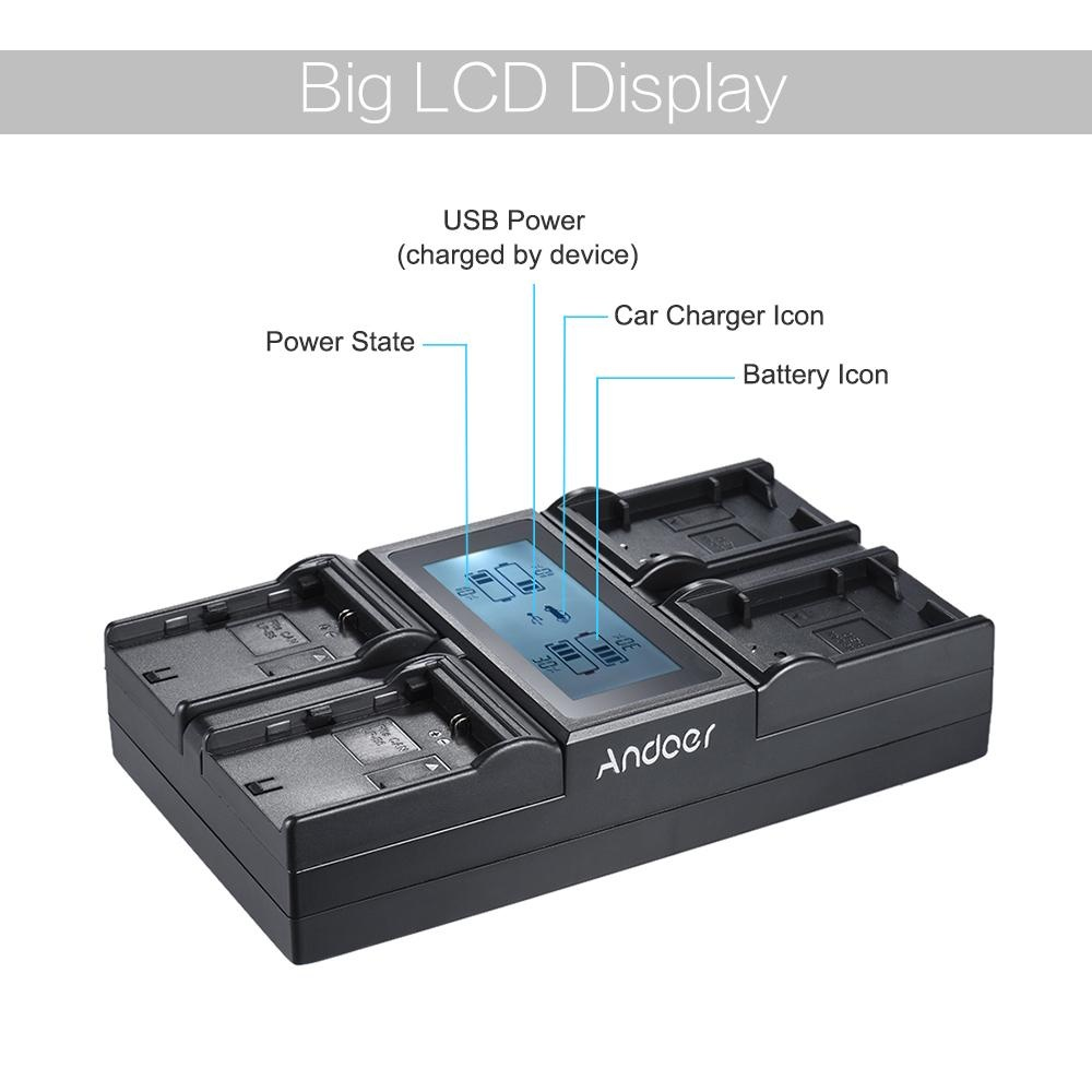 Beli Andoer Lp E6 Lp E6N Lp E17 4 Channel Digital Camera Charger W Lcd Display For Canon 5Diii 5Ds 5Dsr 6D 7Dii 80D 70D 750D 760D Rebel T6I T6S Eos M3 M5 M6 800D 77D Intl Andoer Asli