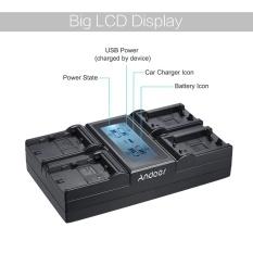 Andoer LP-E6 LP-E6N NPFW50 NP-FW50 4-Channel Kamera Digital Charger W/LCD Display untuk Canon 5 DIII 5DS 5DSR 6D 7DII 80D 70D untuk Sony �7 �7R �7sII �7II �6500 A6300-Intl