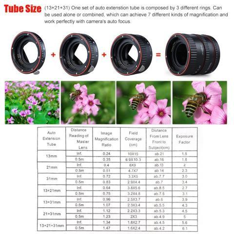 Andoer Macro Extension Tube Set 3-Piece 13mm 21mm 31mm Auto Focus Extension Tube Cincin untuk Bodi Kamera dan Lensa 35mm SLR Kompatibel untuk Canon Semua EF dan EF-S Lensa-Intl 5