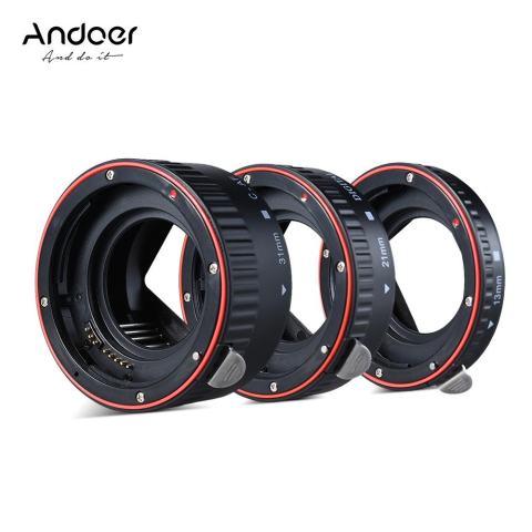 Andoer Macro Extension Tube Set 3-Piece 13mm 21mm 31mm Auto Focus Extension Tube Cincin untuk Bodi Kamera dan Lensa 35mm SLR Kompatibel untuk Canon Semua EF dan EF-S Lensa-Intl 1