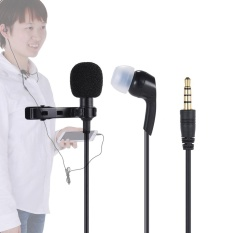 Andoer Mini Clip-on Lapel Lavalier Mikrofon MIC Earphone Omnidirectional Kondensor Hands-free 3.5mm Jack untuk IPhone 6/6 Plus/5 IPad Smartphone Komputer PC Laptop Loudspeaker Streaming Langsung Bernyanyi-Intl
