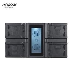 Andoer NP-FW50 NPFW50 4-Channel Kamera Digital Charger dengan Display LCD untuk Sony α7 α7R α7sII α7II α6500 A6300 α7RII NEX Seri Outdoorfree-Intl