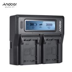 Andoer NP-FW50 NPFW50 Saluran Ganda Digital Charger Kamera dengan Layar LCD untuk Sony Α7 Α7r Α7sii Α7ii Α6500 A6300 Α7rii Seri NEX ^-Intl