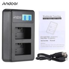 Andoer NP-FW50 Isi Ulang Layar LED Paket Charger 2-Slot Kabel Perlengkapan USB