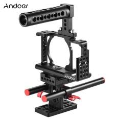 Andoer Pelindung Video Kamera Cage Kit Aluminium Paduan Termasuk Top Handle/2 Pcs 15mm Rod/Baseplate untuk sony A6000 A6300 NEX7 ILDC Ke Mikrofon Gunung Monitor Tripod Lighting Aksesoris Pembuatan Film Outdoorfree ^-Intl