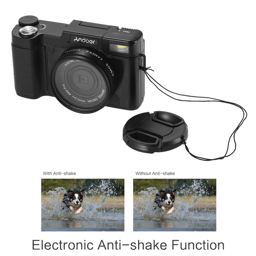 Review Andoer R1 1080 P 15Fps Full Hd 24Mp Kamera Digital Cam Camcorder 3 Layar Lcd Yang Dapat Diputar Anti Shake 4X Digital Zoom Retractable Senter W Uv Filter Outdoorfree Intl Terbaru