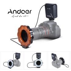 Andoer SL-102C GN15 Macro LED Ring Round Flash Isi Lampu Cahaya Kecerahan Adjustable LCD Display untuk Canon Nikon Pentax Olympus DSLR Camera 40.5mm/52mm/55mm/58mm/62mm/67 MM/72mm/77mm Lensa Studio Fotografi-Intl