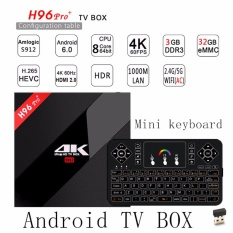 Jual Android 7 1 Octa Core 3G 32G H96 Pro 4 K Amlogic S912 64Bit Smart Tv Box Dengan Q9 7 Warna Backlit Remote Control 2 4G Nirkabel Mini Keyboard Touchpad Intl Tiongkok Murah
