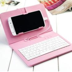 Android Keyboard Ponsel Flip Top Penutup Pelindung (Merah Muda)-Intl