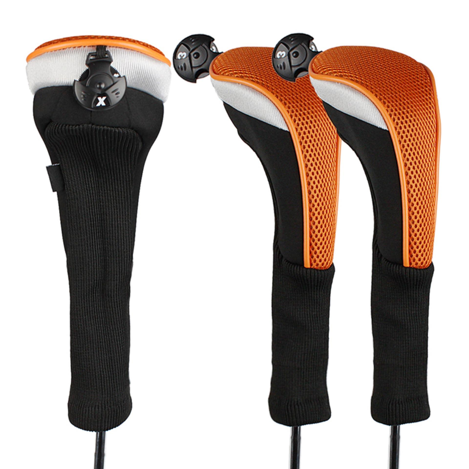 Spesifikasi Andux 3 Pcs Long Neck Hybrid Club Headcovers Golf Head Covers Dengan Interchangeable No Tag Ctmt 02 Orange Terbaru