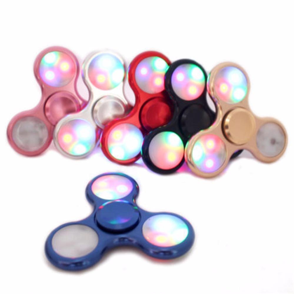 ANGEL - Fidget Spinner LED New Exotic Hand Toys Mainan Tri-Spinner EDC Focus Games Fidget Spinner Metalic Led - Random
