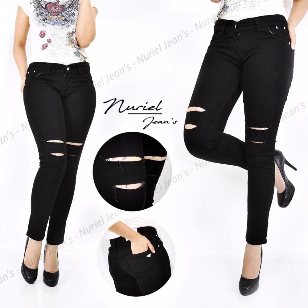 Anggun Jeans - Celana Jeans Wanita – Premium Quality – Sobek - Hitam