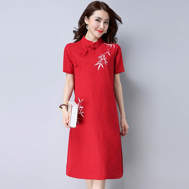 Review Tentang Etnis Angin Kain Linen Pakaian Wanita Lengan Pendek Yang Dilukis Dengan Tangan Rok Setengah Panjang Gaun Merah Baju Wanita Dress Wanita Gaun Wanita