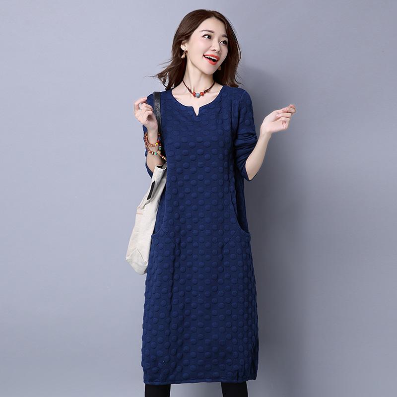Spesifikasi Angin Nasional Katun Warna Solid Longgar Lengan Panjang Gaun Gaun Biru Terbaik