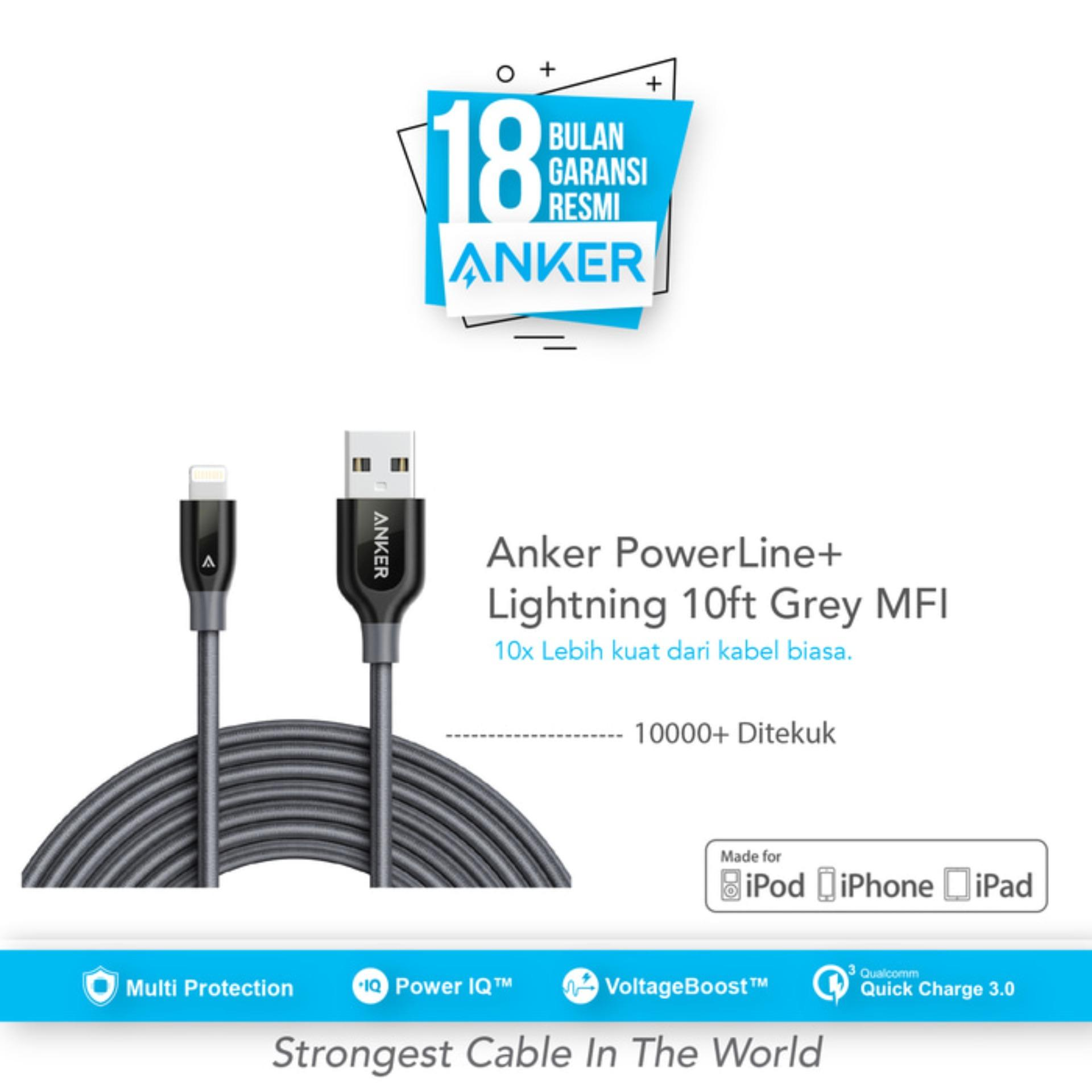 Harga Anker Powerline Lightning Mfi Certified 10Ft 3M Gray Anker