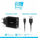Jual Anker Powerport 2 Dual Wall Charger Micro Usb 3Ft Hitam Grosir