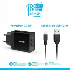 Jual Anker Powerport 2 Dual Wall Charger Micro Usb 3Ft Hitam Branded Original