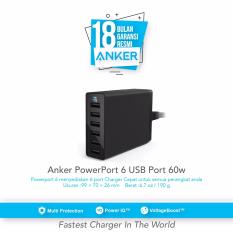 Jual Anker Powerport 6 Usb Charger 6 Port Hitam Satu Set