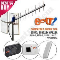 Antena Modem BOLT Dual Pigtail Untuk Huawei E5372S SLIM/ MAX, ZTE MF825A, Huawei E5373 E5775 E3272 E8278 Yagi Grid TXR175 Extreme Gain