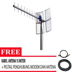 Beli Antena Yagi Untuk Modem Huawei 3131 High Extreme Free Original Pigtail Dan Kabel Antena 15 Meter Silver Antena Yagi