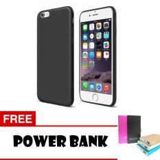 Anti Fingerprint Ultraslim Hybrid Case Baby Soft Babby Skin Softase Silicon Matte for Apple iPhone 6 / 6s - Black + Free Powerbank