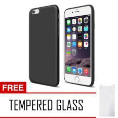 Anti Fingerprint Ultraslim Hybrid Case Baby Soft Babby Skin Softase Silicon Matte for Apple iPhone 7 - Black + Free Tempered Glass