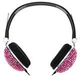 Jual Anti Noise Musik Headphone Dengan Buatan Crystal Rhinestone Bling Merah Murah Tiongkok
