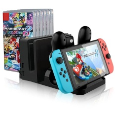 aoyou Multi-functional Charging Dock for Nintendo Switch, Switch Console and Original Pro Controller Charging Stand with 6 Pcs Game Card Box Storage - intl