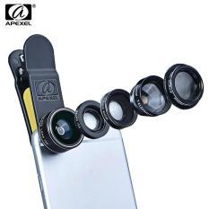 Diskon Besarapexel Apl Dg5 5 In 1 Camera Phone Lens Kit 198 Degree Fisheye 65X Wide Angle 15X Macro 2X Telephoto Polarizer Shutterbug Necessary For Iphone Sam Black Intl
