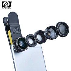 Apexel Apl Dg5 5 In 1 Ponsel Kamera Lensa Kit 198 Derajat Cembung 65 X Sudut Lebar 15 X Makro 2 X Polarizer Telefoto Apexel Diskon 50