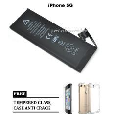 Apple Battery For Baterai iPhone 5G Original 100% + FREE Case Anti Crack iPhone 5 + Tempered Glass iPhone 5
