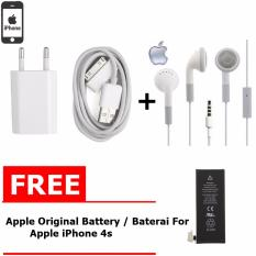 Apple Charger iPhone 4/4S & Kabel Data - Putih + Handsfree apple Free Apple