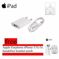 Apple Charger iPhone 5/5C/5S/6/6 Plus dan Cable Data Lightning Free Apple Earphone iPhone 5 /5c /5s - Handsfree Headset - Putih