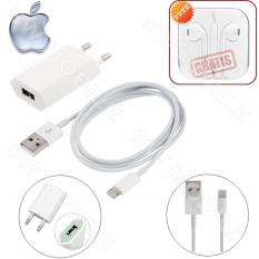 Apple Original Charger iPhone 5/5s/6/6s - Putih + FREE Handsfree iPhone 5