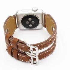 Harga Apple Watch Band 38Mm Double Buckle Leather Series Jam Tangan Original Coklat Murah