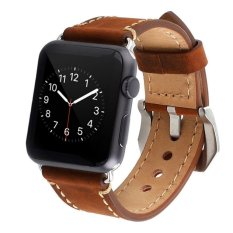 Toko Apple Watch Band 38Mm Iwatch Strap Premium Vintage Genuine Leather Replacement Watch Band Dengan Secure Metal Clasp Buckle Untuk Apple Watch Sport Edition Intl Online Di Tiongkok