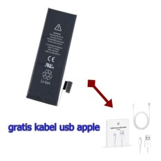 apple/Iphone 5S Battery / Baterai / Batre / Batt Original + kabel usb apple