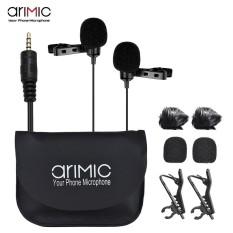 Arimic Dual-Menuju Lavalier Lapel Clip-On Mikrofon Berkondensor Ke Seluruh Arah Kabel MIC Panjang 19.7ft untuk iPhone iPad IPod Android Smartphone untuk Canon Nikon DSLR Kamera internasional