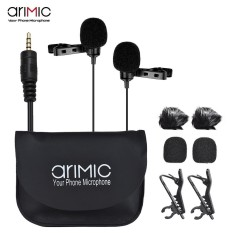 Arimic Dual-Menuju Lavalier Lapel Clip-On Mikrofon Berkondensor Ke Seluruh Arah Kabel MIC Panjang 4.9ft untuk iPhone iPad IPod Android Smartphone untuk Canon Nikon DSLR Kamera internasional