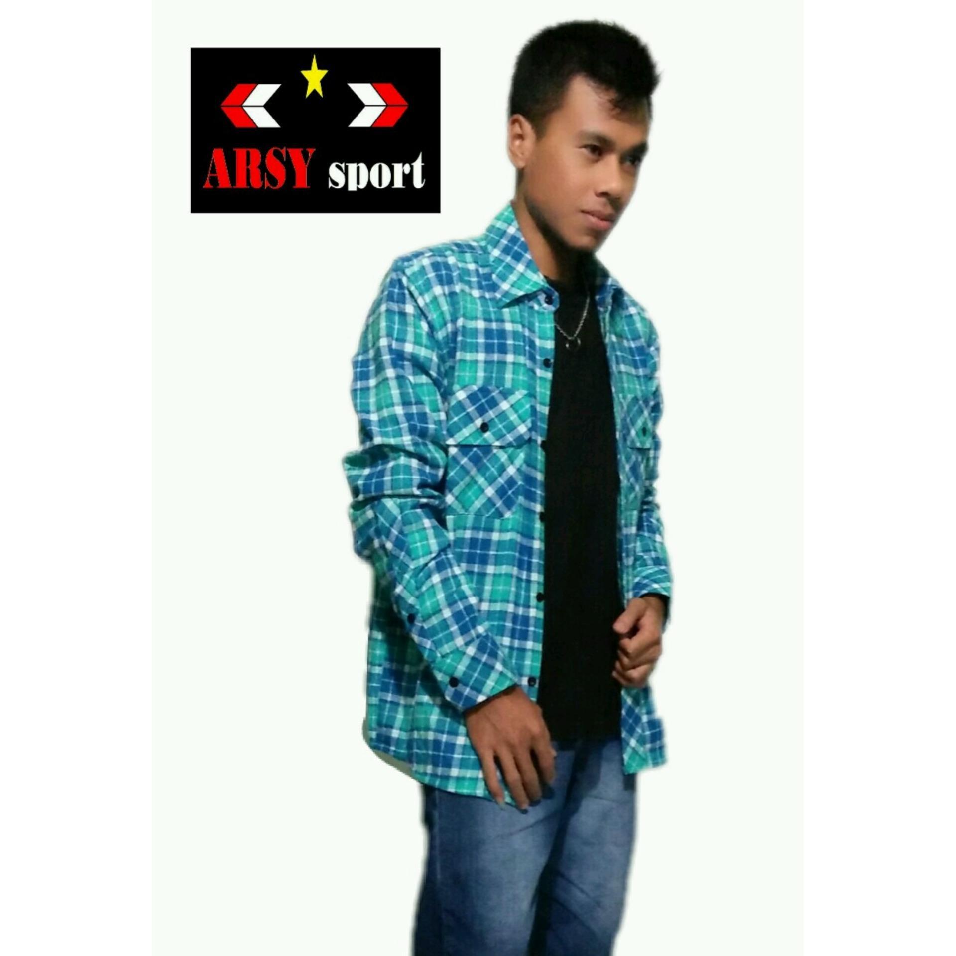 Harga Arsy Sport Kemeja Flanel Kotak Pria Di Jawa Barat