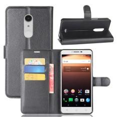 Karena Saat Case untuk Alcatel A3 XL Litchi Biji-bijian PU Kulit Case Sarung Dompet Slot Kartu dengan Penutupan Magnetik- internasional
