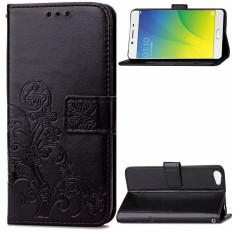 AS Beauty Case for OPPO R9s Lucky Clover Pattern PU Leather Case with Magnetic Closure - intl