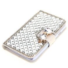 Karena Saat Case untuk ZTE Maksimum XL N9560 3D Mewah Bling Diamonds Busur Tulang PU Kulit Lipat Case- internasional