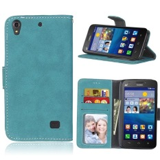 Ascend G620S Case, Retro Frosted PU Leather Flip Magnet Wallet Stand Card Slots Case Cover for Huawei Ascend G620S (Blue) - intl