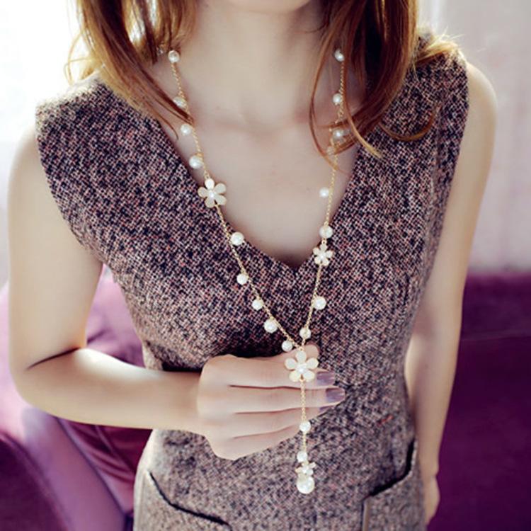 Asesoris Asesoris Gantung Perempuan Dekorasi Rantai Sweater Emas Mawar