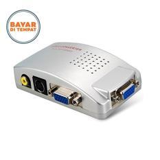 ASLB Converter Box Adapter VGA to TV AV RCA S-Video - Silver