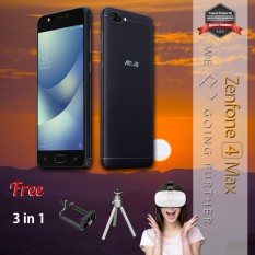 Asus Zenfone 4 Max ZC520KL 4G 3/32 13MP + 5MP + 8MP Android N + Free Mini Tripod + Holder U + VR Garansi Resmi