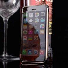 Asuwish Kasus Mewah Transparan Clear View Flip Cover Elektroplating Hard Cermin untuk IPhone 6/6 S-Intl