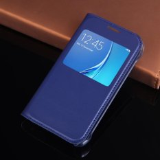 Asuwish Slim Tipis Lihat Shell Shockproof Tas Flip Cover Leather Case Holster untuk Samsung Galaxy J1 Mini 2016/J1 Nxt J105 J105H J105F